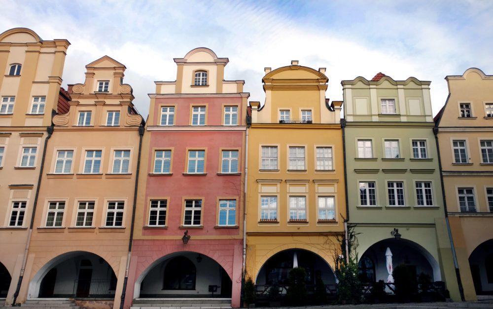 town hall square historic colorful houses poland jelenia góra hirschberg